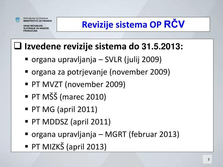 Izvedene sistemske revizije do maja 2013: