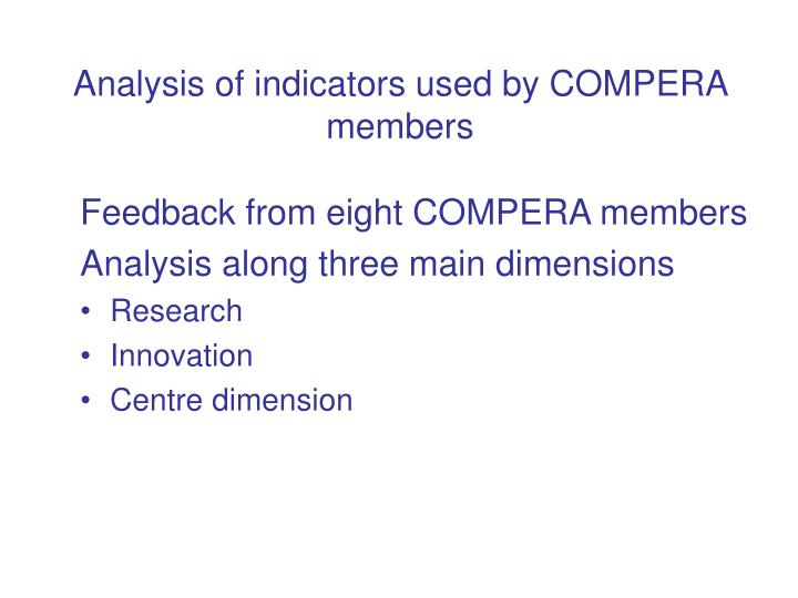 Analysis of indicators used by COMPERA members
