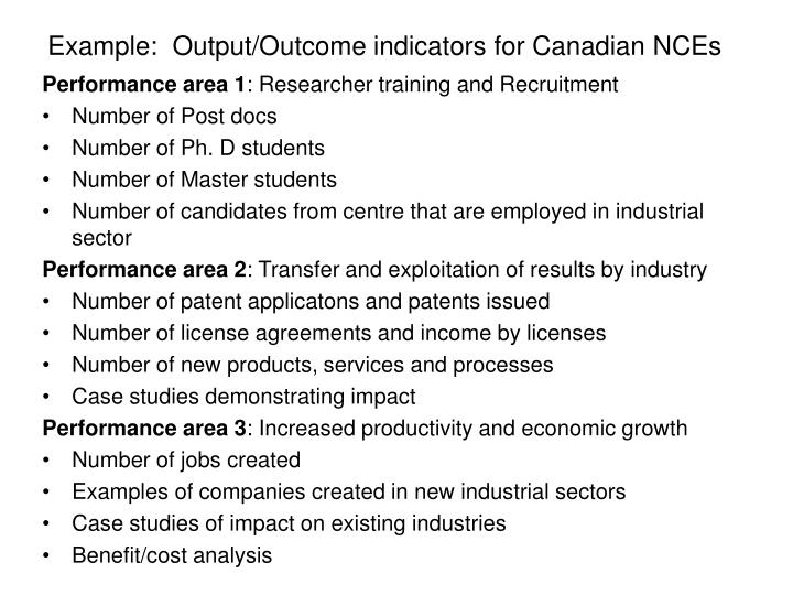 Example:  Output/Outcome indicators for Canadian NCEs