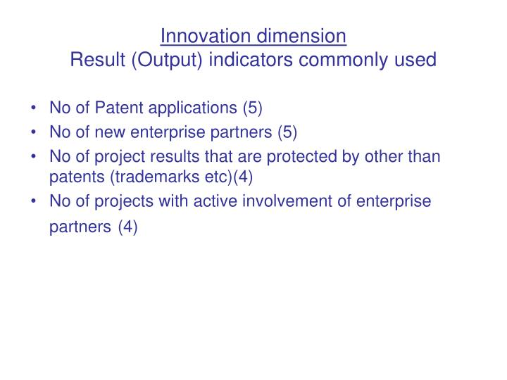 Innovation dimension
