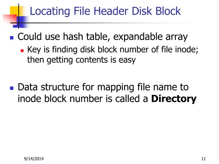 Locating File Header Disk Block