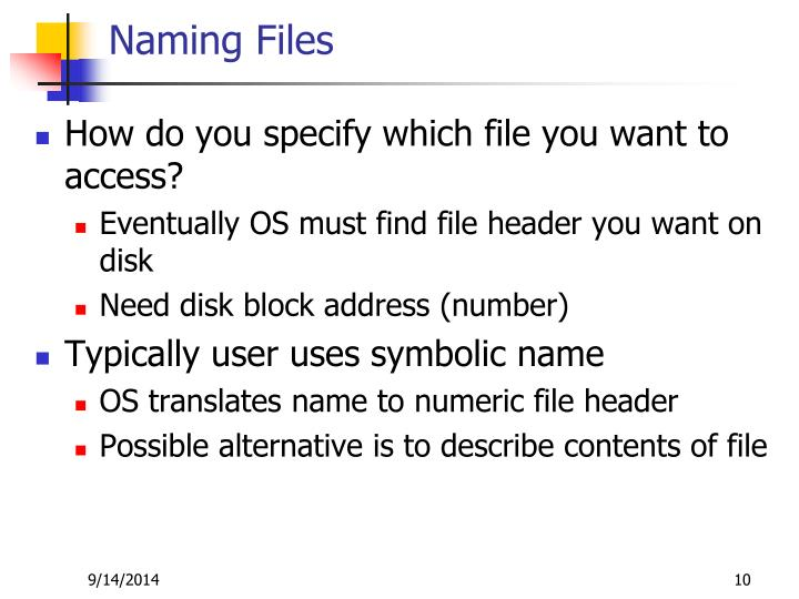 Naming Files