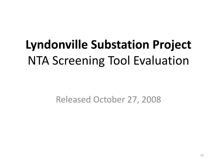 Lyndonville Substation Project