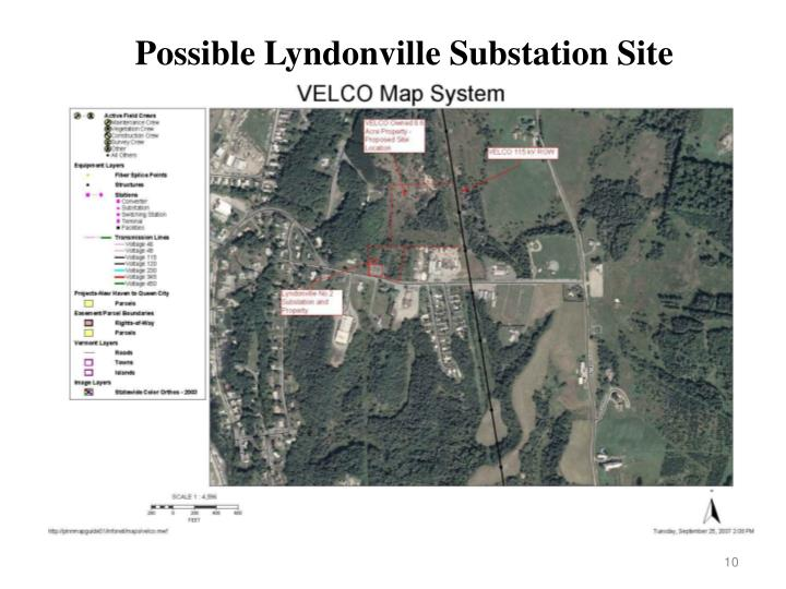 Possible Lyndonville Substation Site