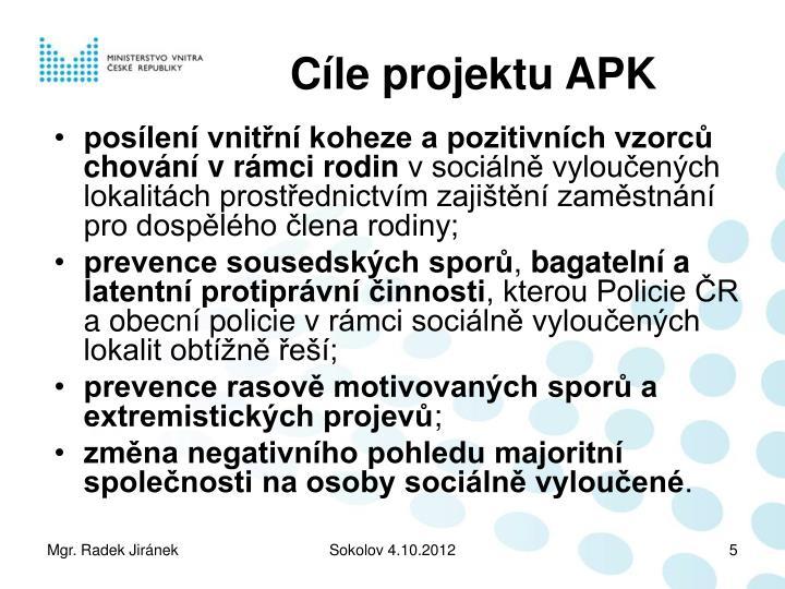 Cíle projektu APK