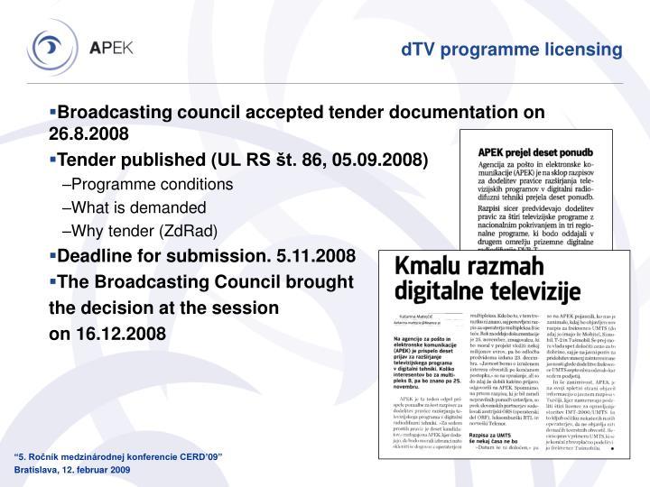 dTV programme licensing