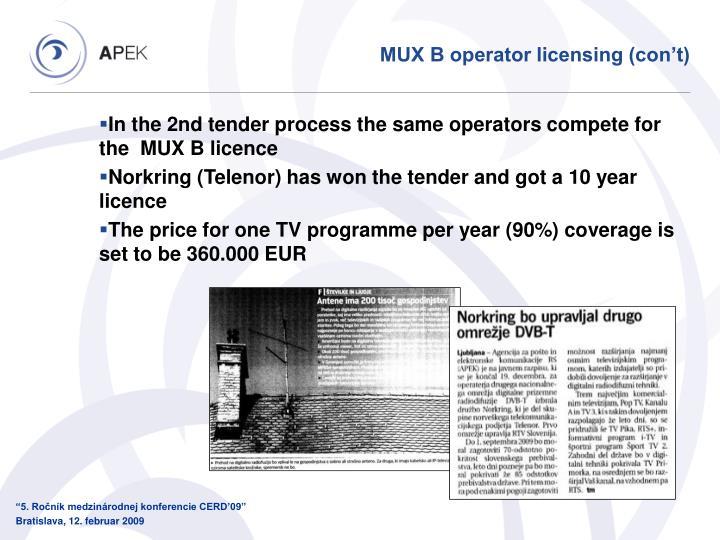 MUX B operator licensing (con't)