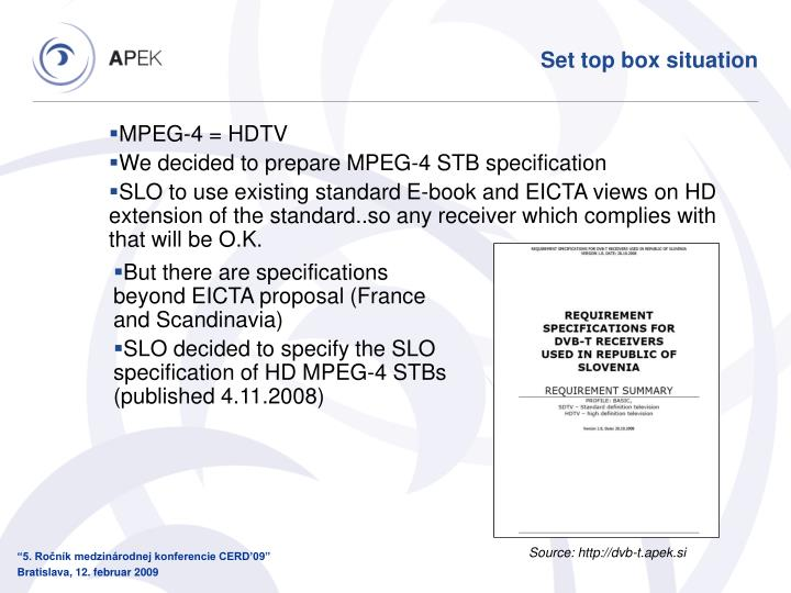 Set top box situation