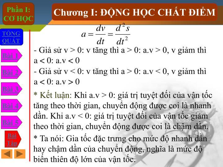 - Gi s v > 0: v tng th a > 0: a.v > 0, v gim th a < 0: a.v < 0