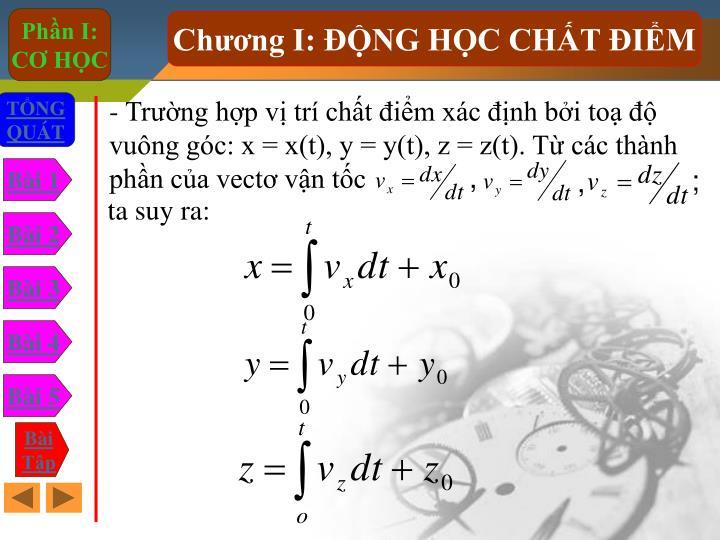 - Trng hp v tr cht im xc nh bi to  vung gc: x = x(t), y = y(t), z = z(t). T cc thnh phn ca vect vn tc
