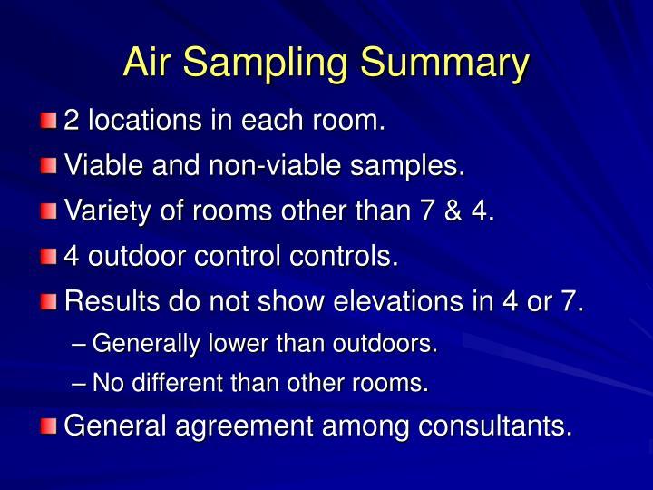 Air Sampling Summary