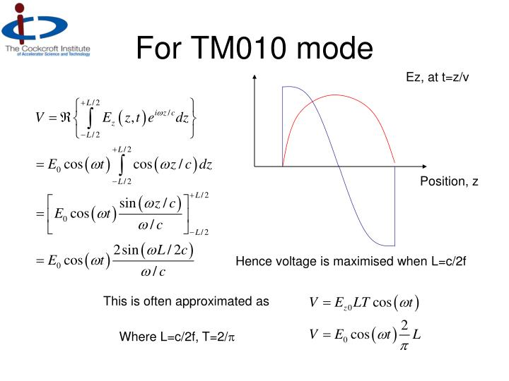 For TM010 mode