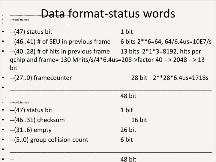 Data format-status words