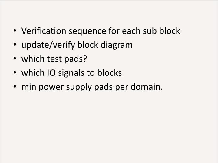 Verification sequence for each sub block