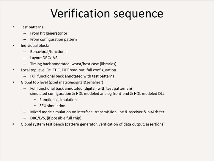 Verification sequence