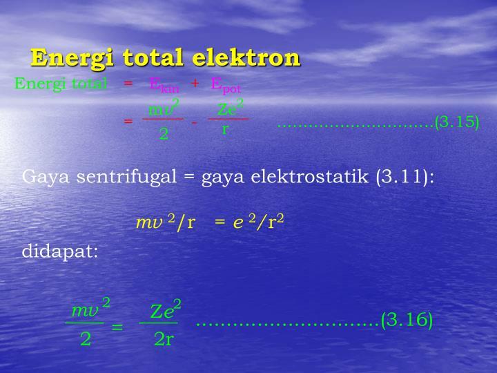 Energi total elektron