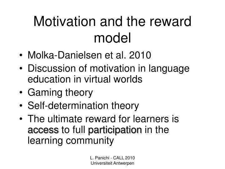 Motivation and the reward model