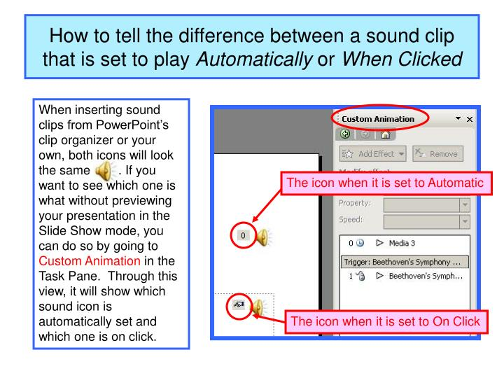 How to tell the difference between a sound clip that is set to play