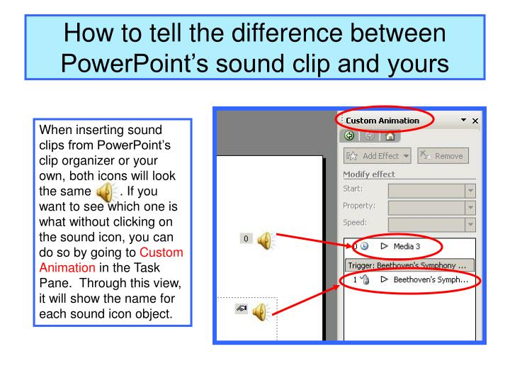 How to tell the difference between PowerPoint's sound clip and yours