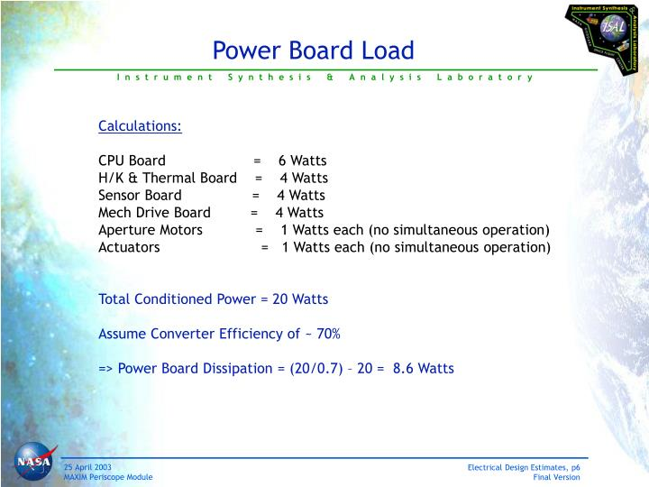 Power Board Load