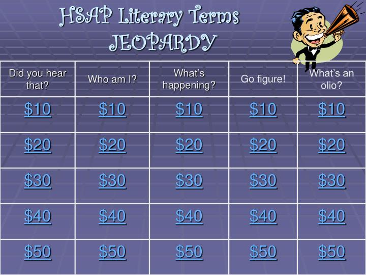 Hsap literary terms jeopardy