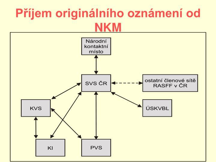 Příjem originálního oznámení od NKM