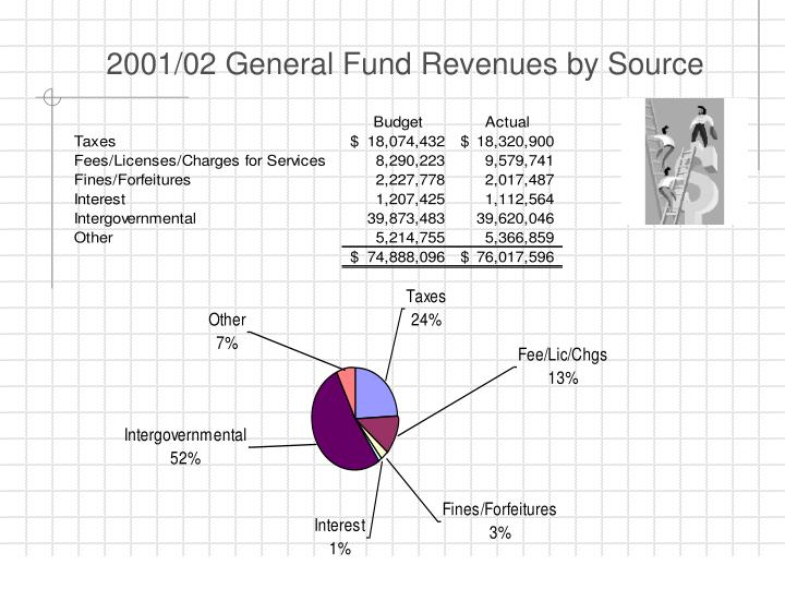 2001/02 General Fund Revenues by Source