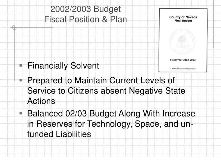2002/2003 Budget