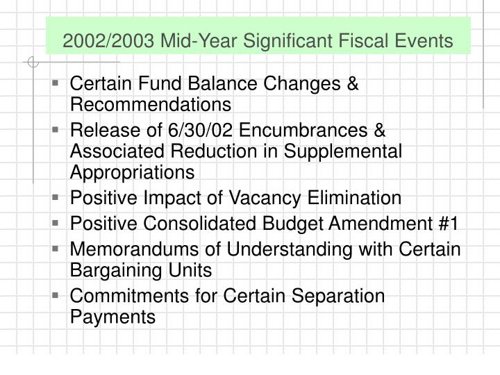 2002/2003 Mid-Year Significant Fiscal Events