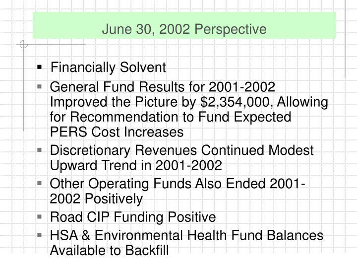 June 30, 2002 Perspective