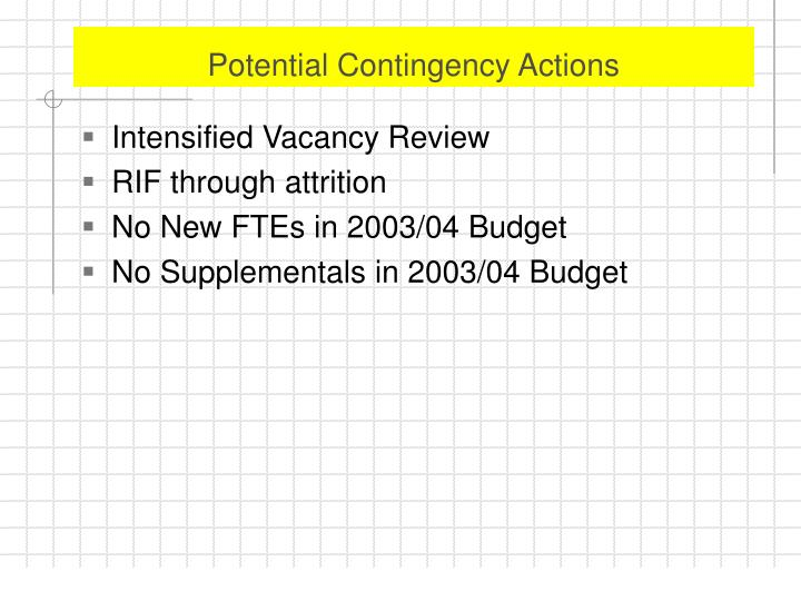 Potential Contingency Actions