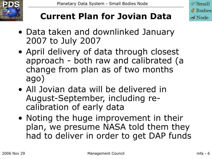Current Plan for Jovian Data