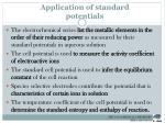 application of standard potentials