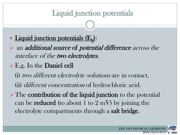 Liquid junction potentials