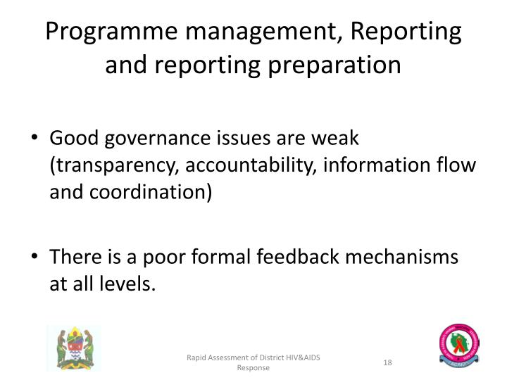 Programme management, Reporting  and reporting preparation