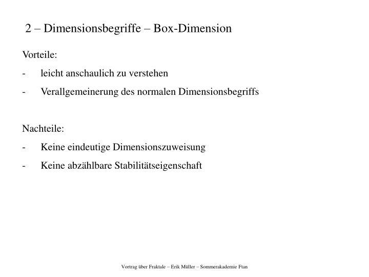 2 – Dimensionsbegriffe – Box-Dimension