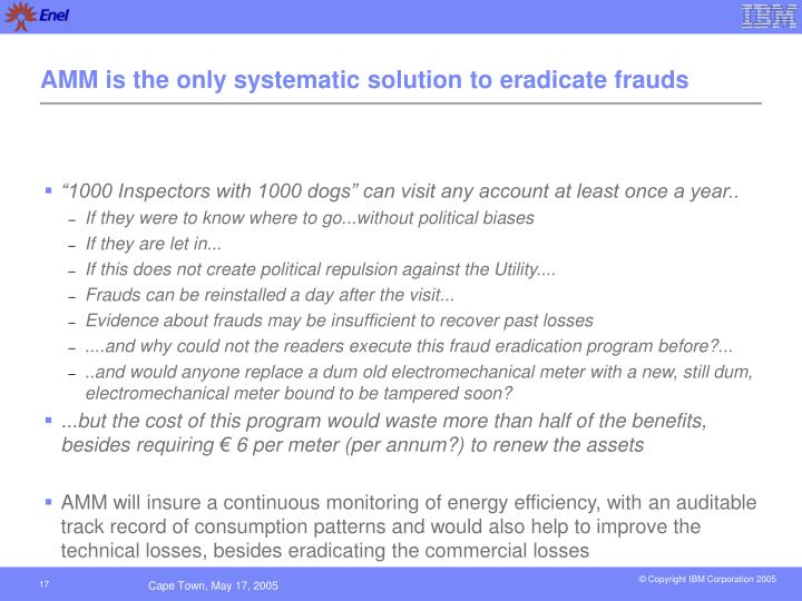 AMM is the only systematic solution to eradicate frauds
