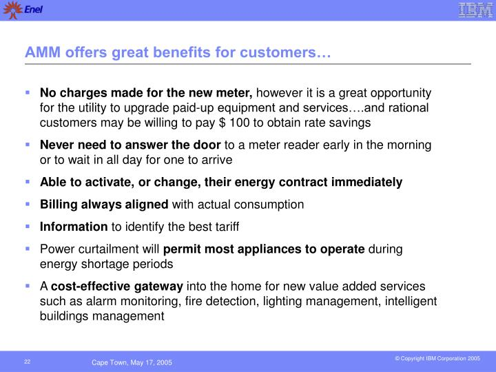 AMM offers great benefits for customers…