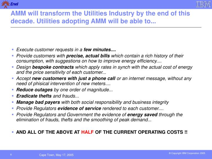 AMM will transform the Utilities Industry by the end of this decade. Utilities adopting AMM will be able to...