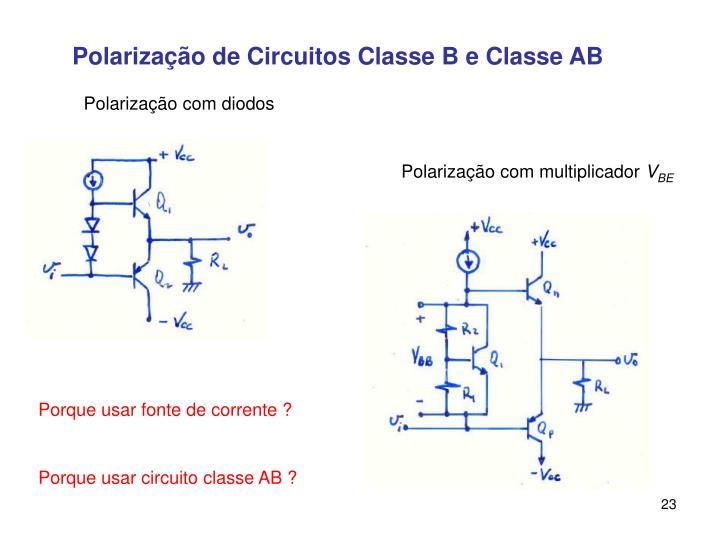 Polarização de Circuitos Classe B e Classe AB