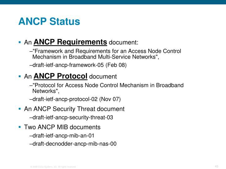 ANCP Status
