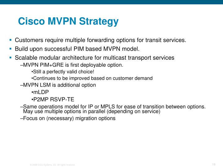 Cisco MVPN Strategy