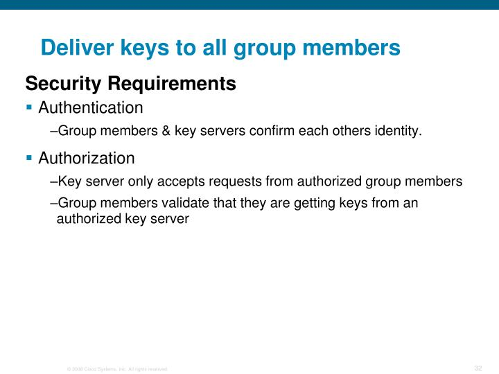 Deliver keys to all group members