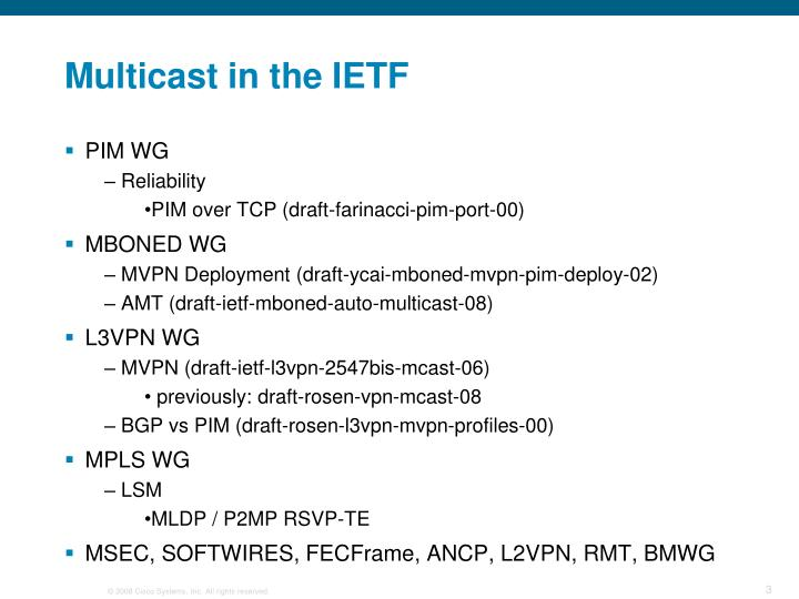 Multicast in the ietf