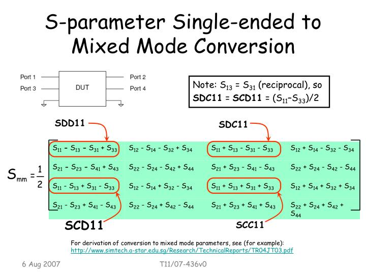 S-parameter Single-ended to Mixed Mode Conversion