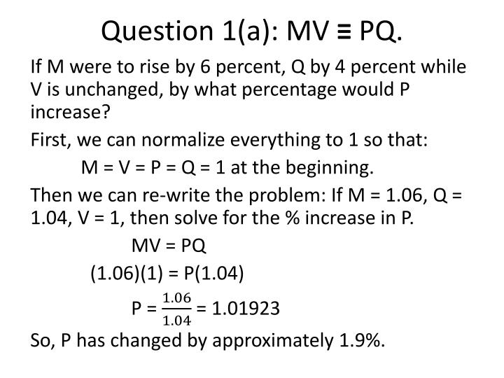 Question 1 a mv pq