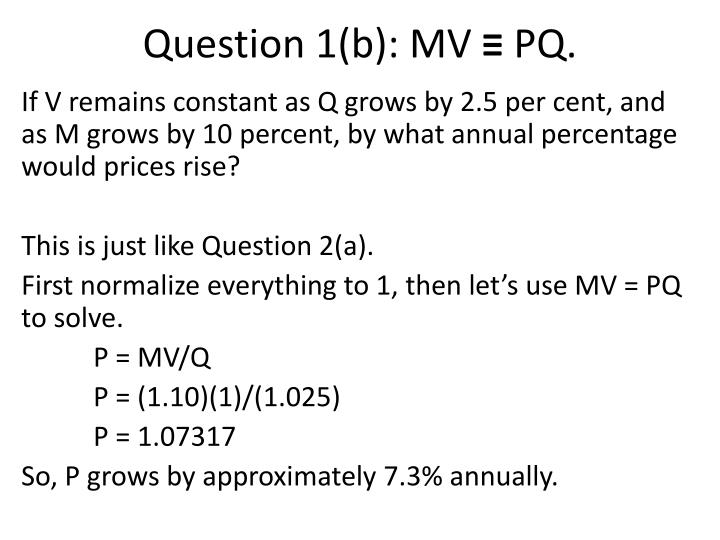Question 1 b mv pq