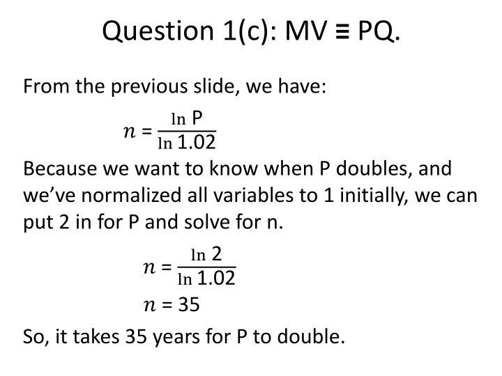 Question 1(c):