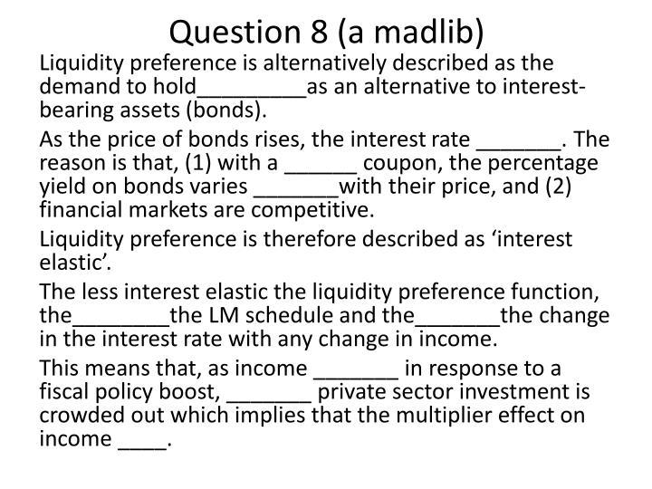 Question 8 (a