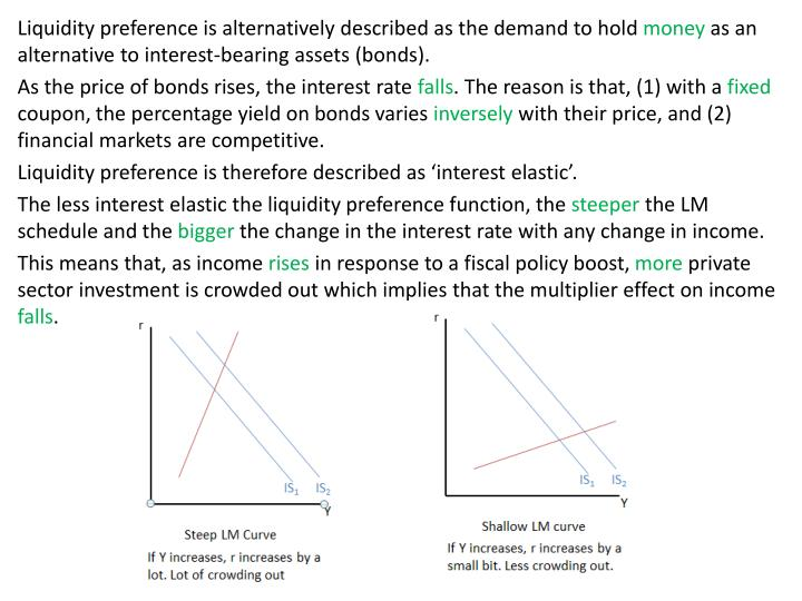 Liquidity preference is alternatively described as the demand to hold